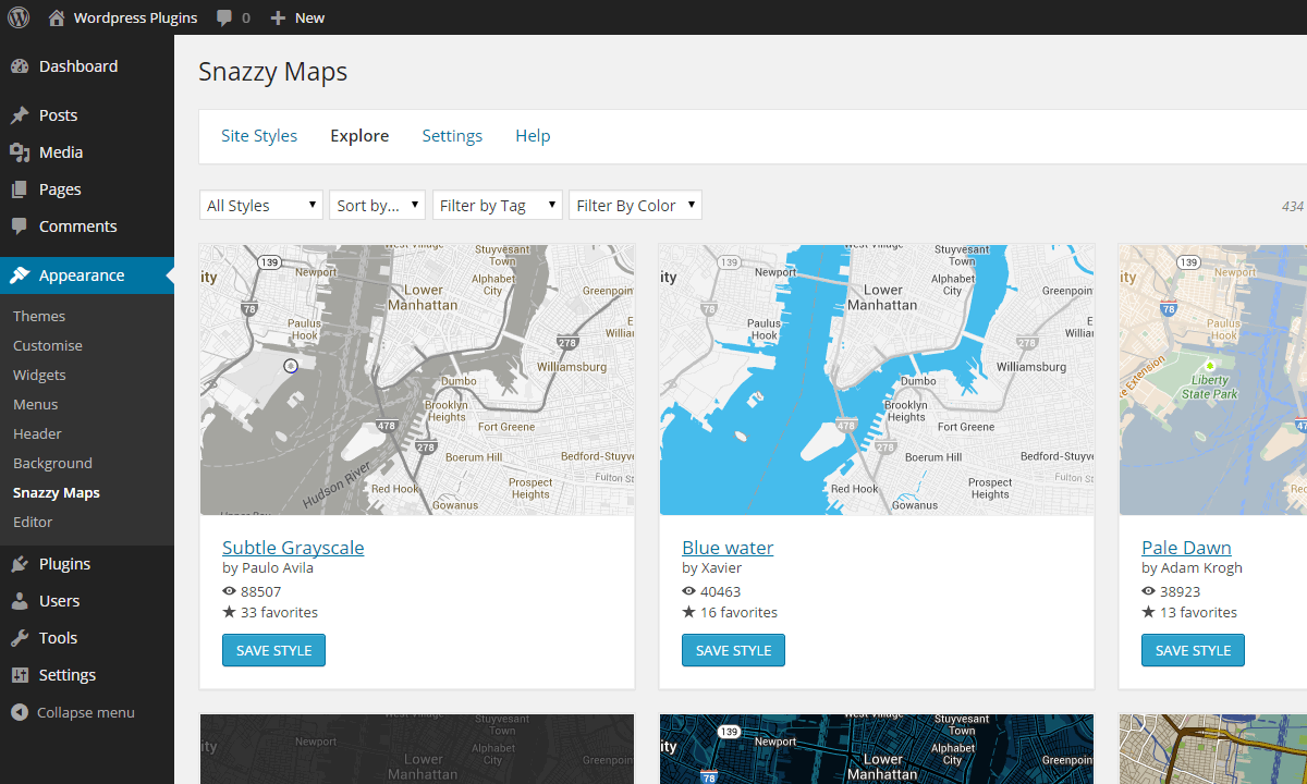 Plugins Snazzy Maps Free Styles For Google Maps - Interactive us map plugin wordpress